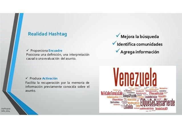 Mejora la búsqueda Identifica comunidades Agrega información Iria Puyosa Julio, 2014 Realidad Hashtag Proporciona Encuadre...