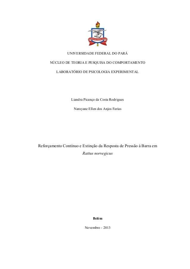 UNIVERSIDADE FEDERAL DO PARÁ NÚCLEO DE TEORIA E PESQUISA DO COMPORTAMENTO LABORATÓRIO DE PSICOLOGIA EXPERIMENTAL Liandra P...