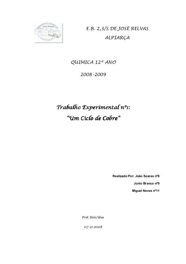 """Trabalho Experimental nº1Trabalho Experimental nº1Trabalho Experimental nº1Trabalho Experimental nº1 """""""""""""""" E.B. 2,3/S DE JO..."""