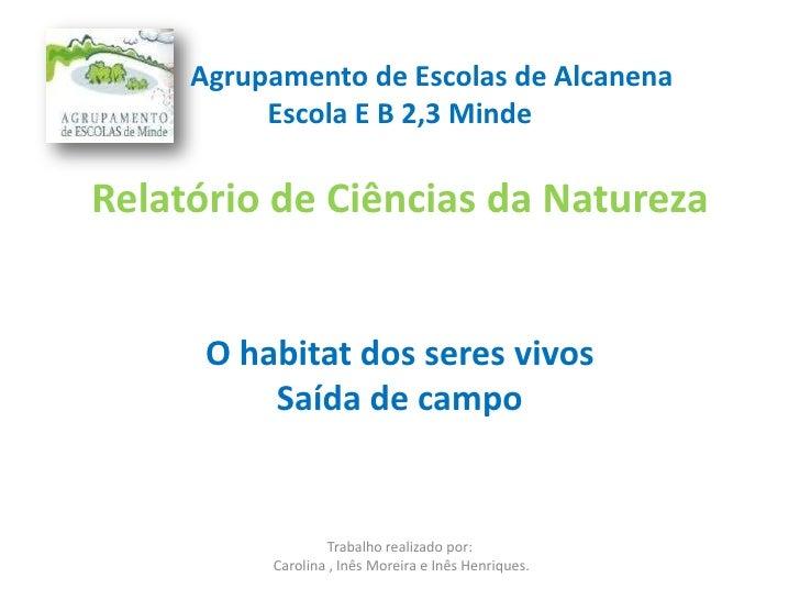 Relatório de Ciências da Natureza<br />         Agrupamento de Escolas de Alcanena<br />Escola E B 2,3 Minde<br />...