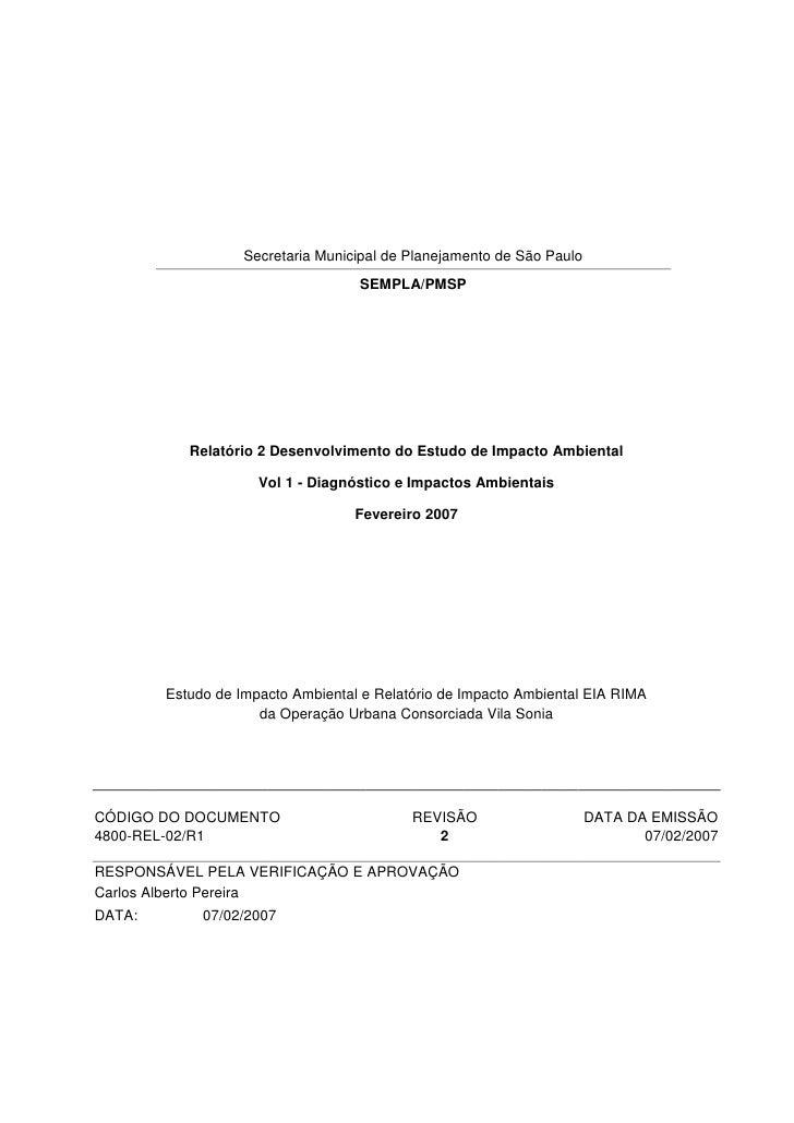 Secretaria Municipal de Planejamento de São Paulo                                   SEMPLA/PMSP           Relatório 2 Dese...