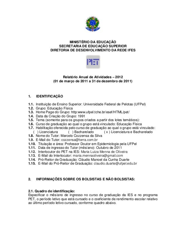 MINISTÉRIO DA EDUCAÇÃO SECRETARIA DE EDUCAÇÃO SUPERIOR DIRETORIA DE DESENVOLVIMENTO DA REDE IFES Relatório Anual de Ativid...