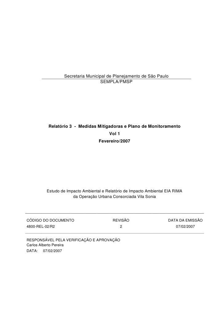 Secretaria Municipal de Planejamento de São Paulo                                      SEMPLA/PMSP          Relatório 3 - ...
