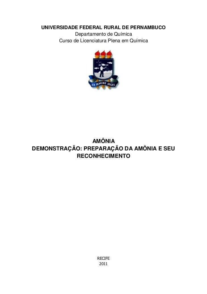 UNIVERSIDADE FEDERAL RURAL DE PERNAMBUCO               Departamento de Química        Curso de Licenciatura Plena em Quími...