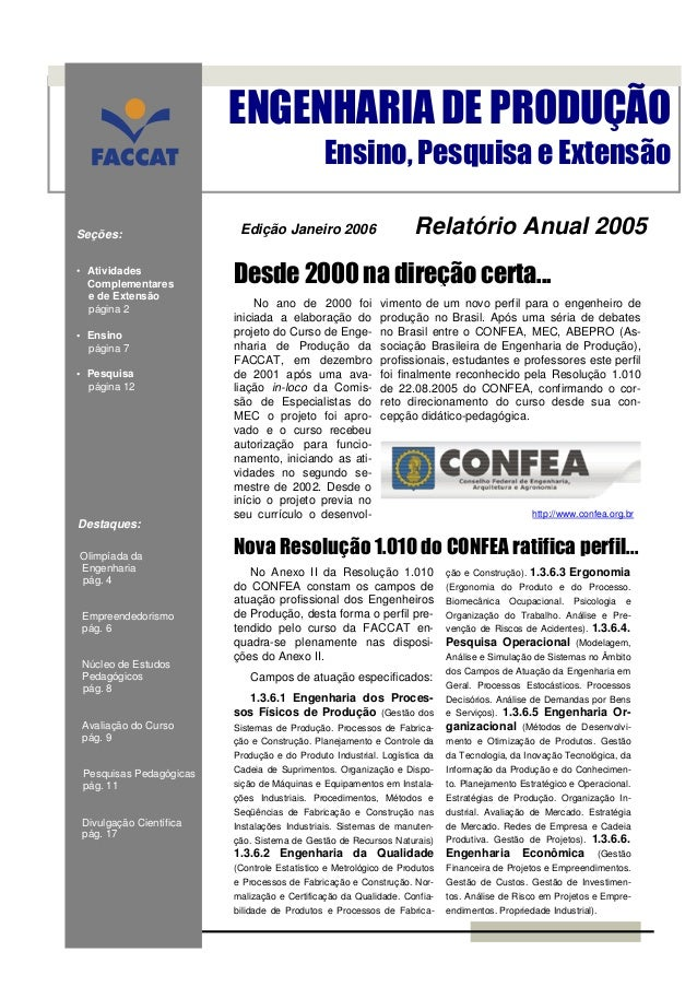 ENGENHARIA DE PRODUÇÃO                                              Ensino, Pesquisa e ExtensãoSeções:                   E...