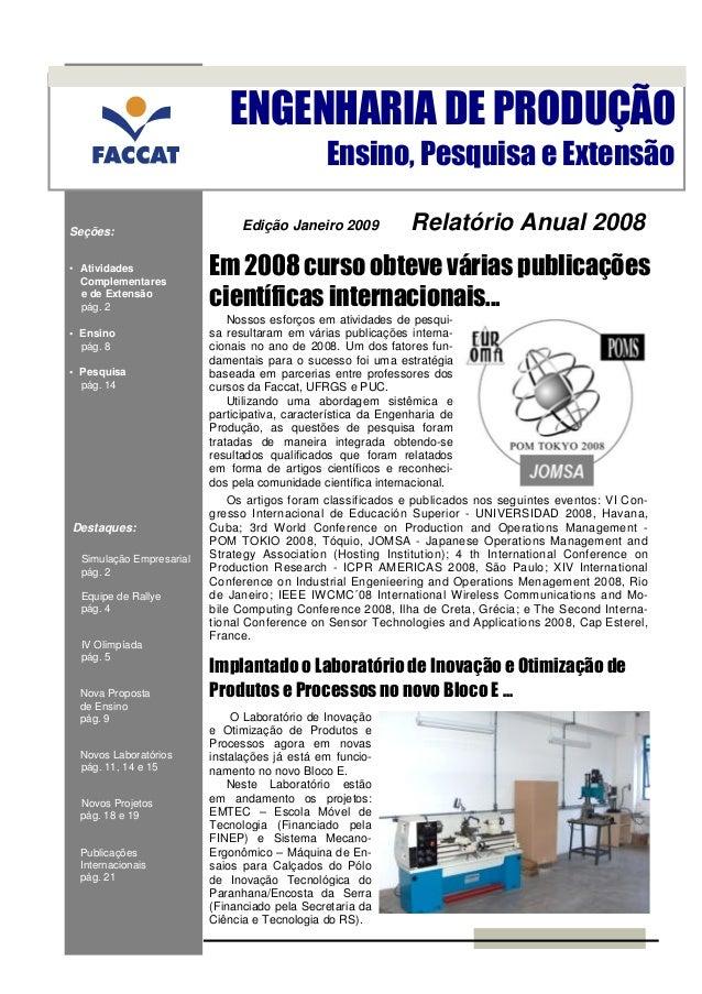 ENGENHARIA DE PRODUÇÃO                                                Ensino, Pesquisa e ExtensãoSeções:                  ...