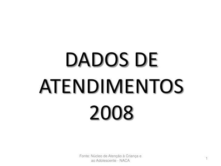 DADOS DEATENDIMENTOS    2008   Fonte: Núcleo de Atenção à Criança e                                          1          ao...