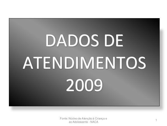 DADOS DE ATENDIMENTOS 2009 1 Fonte: Núcleo de Atenção à Criança e ao Adolescente - NACA