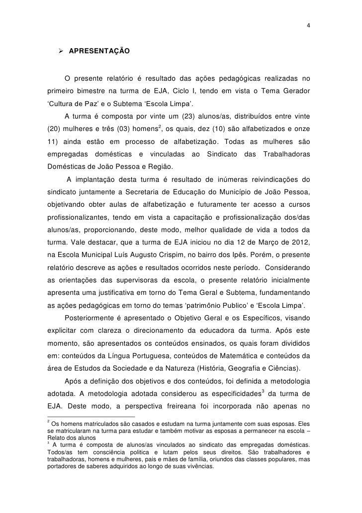 Suficiente Relatório do Primeiro Bimestre - Março/Abril 2012. US96