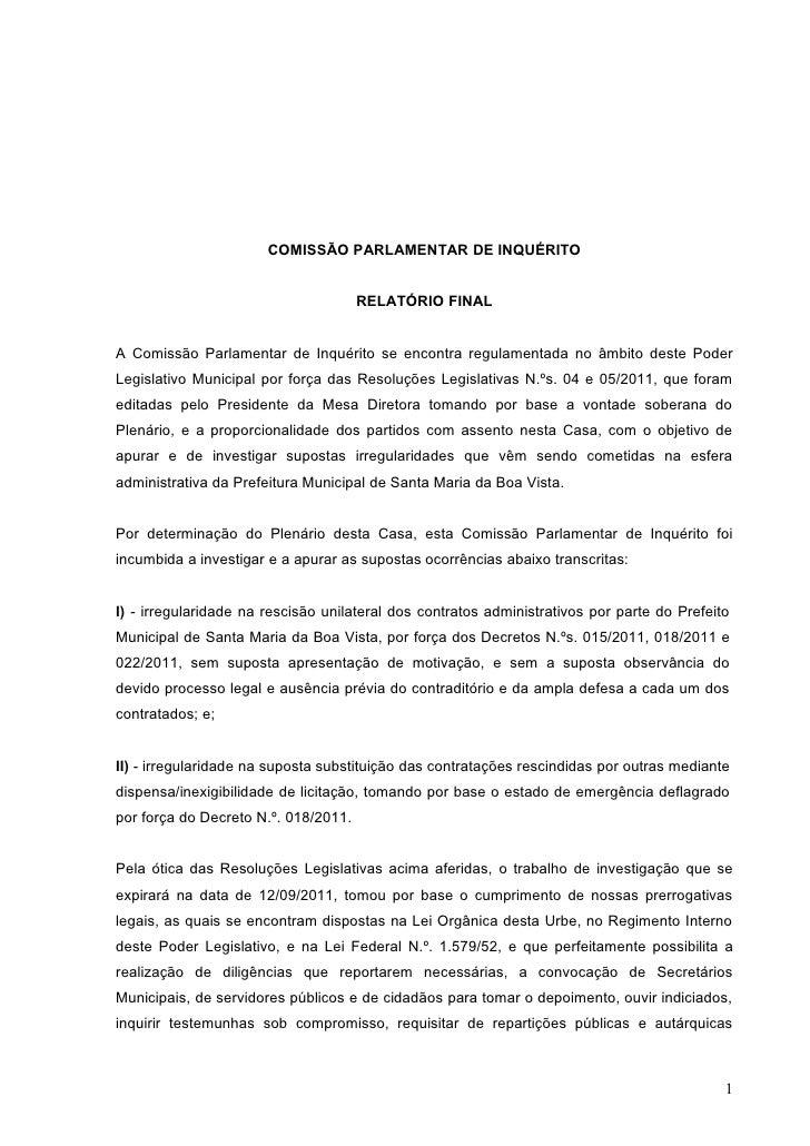 COMISSÃO PARLAMENTAR DE INQUÉRITO                                      RELATÓRIO FINALA Comissão Parlamentar de Inquérito ...