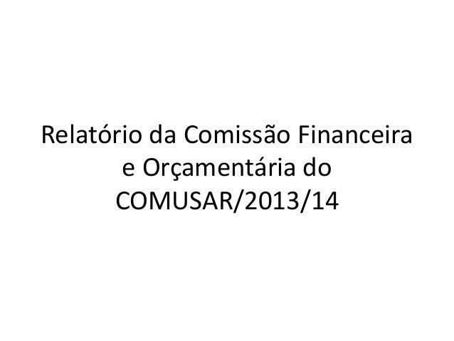 Relatório da Comissão Financeira e Orçamentária do COMUSAR/2013/14