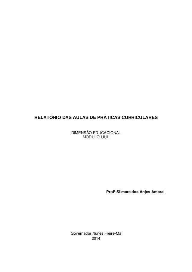 RELATÓRIO DAS AULAS DE PRÁTICAS CURRICULARES DIMENSÃO EDUCACIONAL MODULO I,II,III Profª Silmara dos Anjos Amaral Governado...