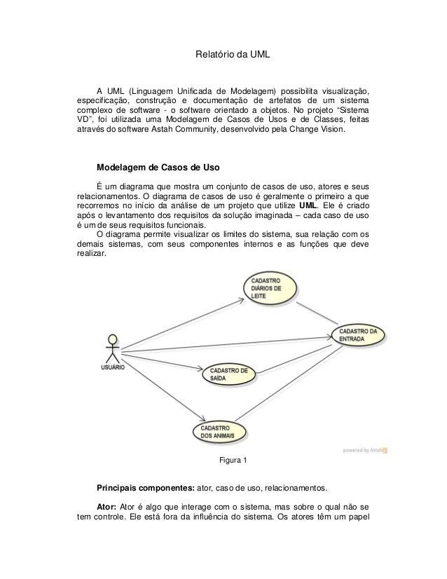 Relatório da UMLA UML (Linguagem Unificada de Modelagem) possibilita visualização,especificação, construção e documentação...