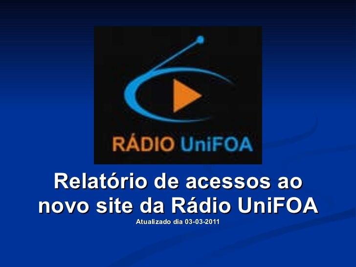 Relatório de acessos ao novo site da Rádio UniFOA Atualizado dia 03-03-2011
