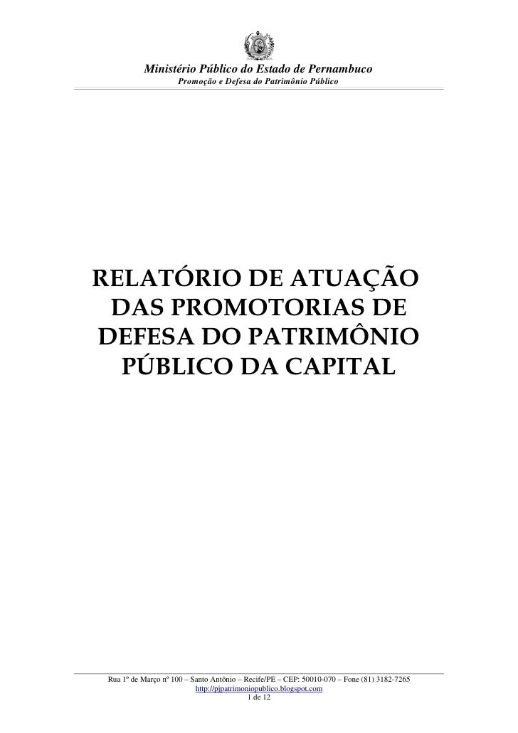 Ministério Público do Estado de Pernambuco                     Promoção e Defesa do Patrimônio Público     RELATÓRIO DE AT...
