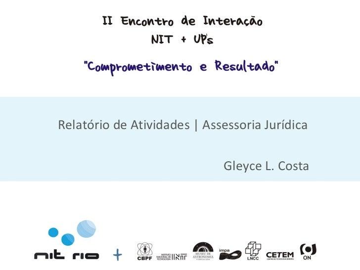 Relatório de Atividades | Assessoria Jurídica Gleyce L. Costa
