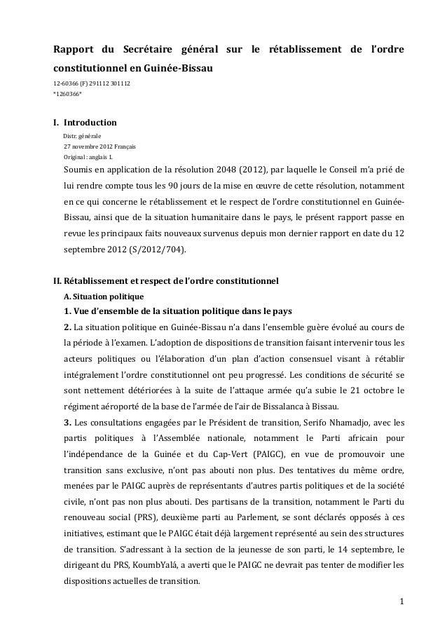 Rapport du Secrétaire général sur le rétablissement de l'ordreconstitutionnel en Guinée-Bissau12-60366 (F) 291112 301112*1...