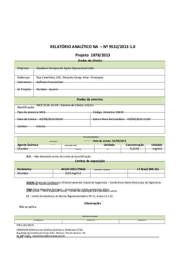 RELATÓRIO ANALÍTICO NA – Nº 9532/2013-1.0 Projeto 1878/2013 Dados do cliente Empresa:  Gaudium Serviços de Apoio Operacion...