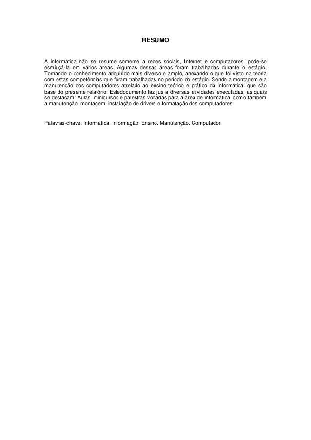 relatório de estágio tÉc em informÁtica41105 Resumo De Relatorio De Estagio Supervisionado #20