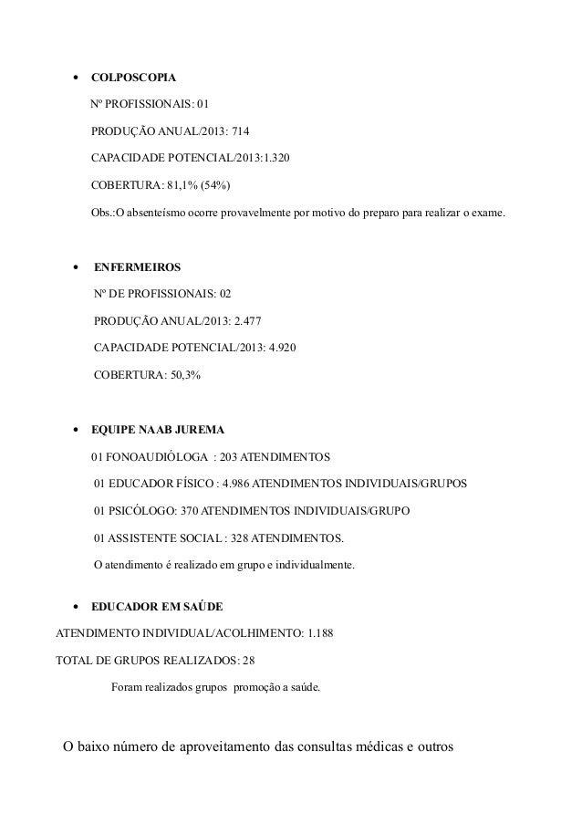 • COLPOSCOPIA Nº PROFISSIONAIS: 01 PRODUÇÃO ANUAL/2013: 714 CAPACIDADE POTENCIAL/2013:1.320 COBERTURA: 81,1% (54%) Obs.:O ...