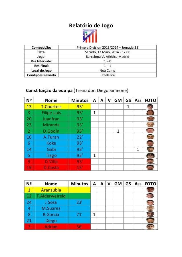 Relatório de Jogo Competição: Priméra Division 2013/2014 – Jornada 38 Data: Sábado, 17 Maio, 2014 - 17:00 Jogo: Barcelona ...
