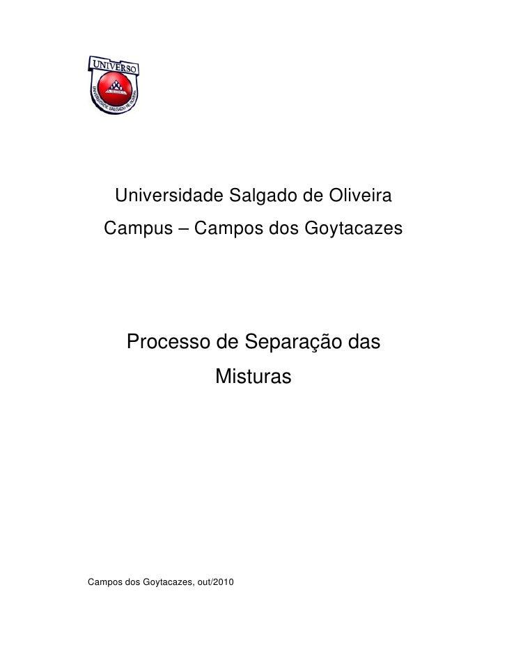 Relatório de Química Processo de Separação das Misturas 001