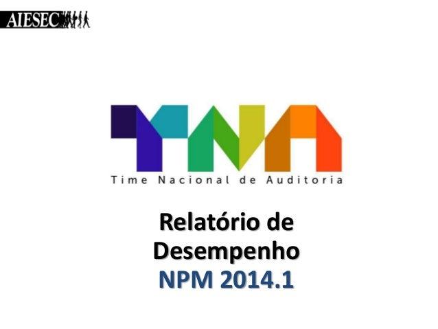 Relatório de Desempenho NPM 2014.1