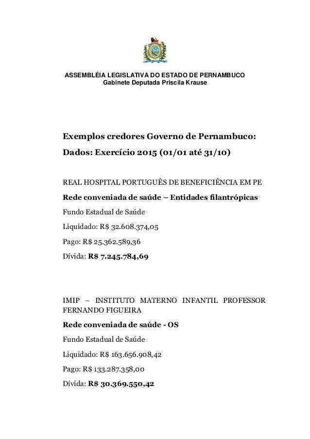 ASSEMBLÉIA LEGISLATIVA DO ESTADO DE PERNAMBUCO Gabinete Deputada Priscila Krause Exemplos credores Governo de Pernambuco: ...