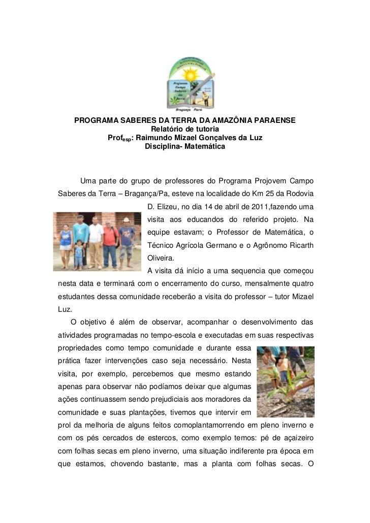 PROGRAMA SABERES DA TERRA DA AMAZÔNIA PARAENSE<br />Relatório de tutoria<br />Prof esp: Raimundo Mizael Gonçalves da Luz<b...