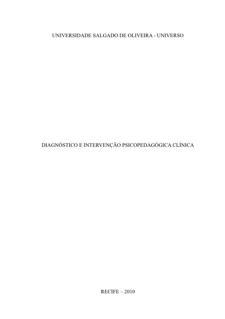 Relatório do diagnóstico psicopedagógico clínico