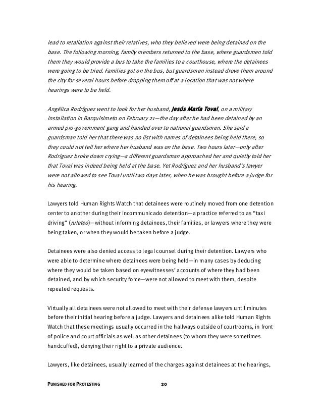 21 HUMAN RIGHTS WATCH | MAY 2014 or at the earliest, minutes before they began. They had virtually no time to review relev...
