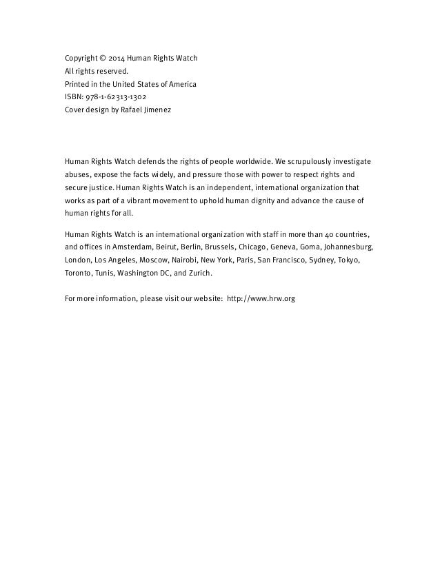 Copyright © 2014 Human Rights Watch All rights reserved. Printed in the United States of America ISBN: 978-1-62313-1302 Co...