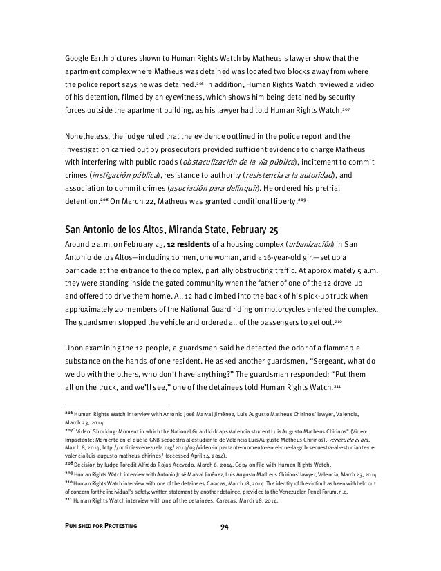 RELATÓRIO DO HUMAN RIGHTS WATCH SOBRE A VENEZUELA