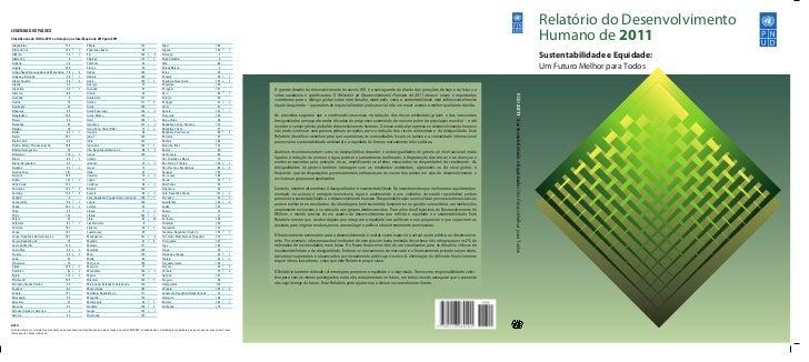 Relatório do DesenvolvimentoLEGENDA DOS PAÍSESClassificação do IDH de 2011 e alteração na classificação de 2010 para 2011Afe...