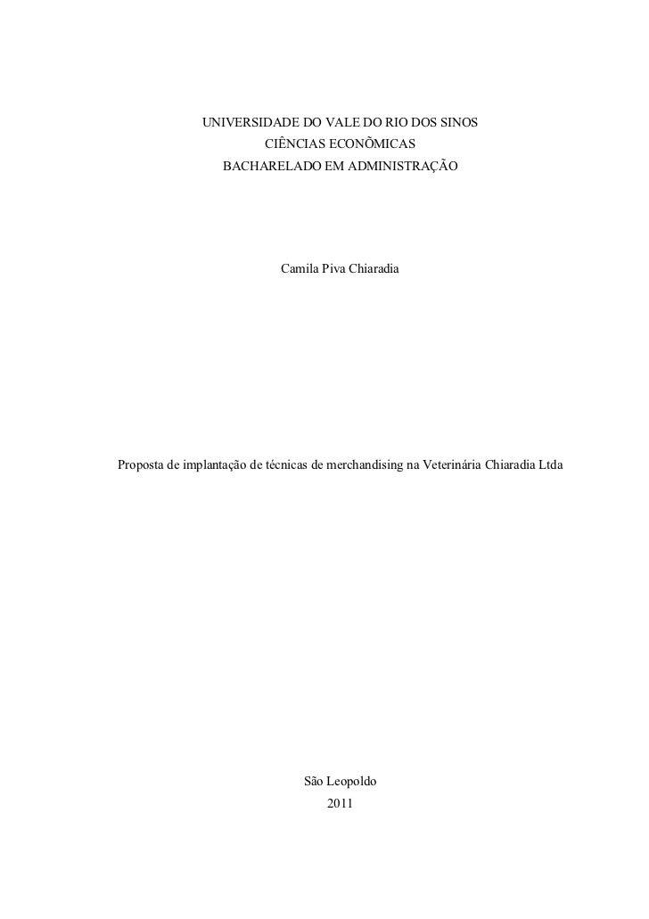 UNIVERSIDADE DO VALE DO RIO DOS SINOS                           CIÊNCIAS ECONÕMICAS                   BACHARELADO EM ADMIN...