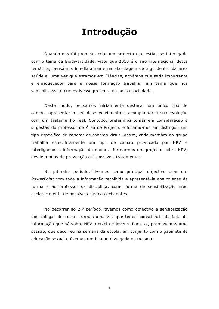 Exemplo de introdução de um trabalho escolar