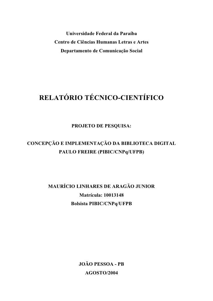 Universidade Federal da Paraíba        Centro de Ciências Humanas Letras e Artes          Departamento de Comunicação Soci...