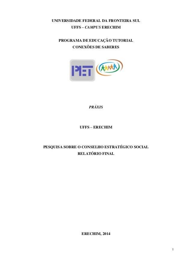 1 UNIVERSIDADE FEDERAL DA FRONTEIRA SUL UFFS – CAMPUS ERECHIM PROGRAMA DE EDUCAÇÃO TUTORIAL CONEXÕES DE SABERES PRÁXIS UFF...