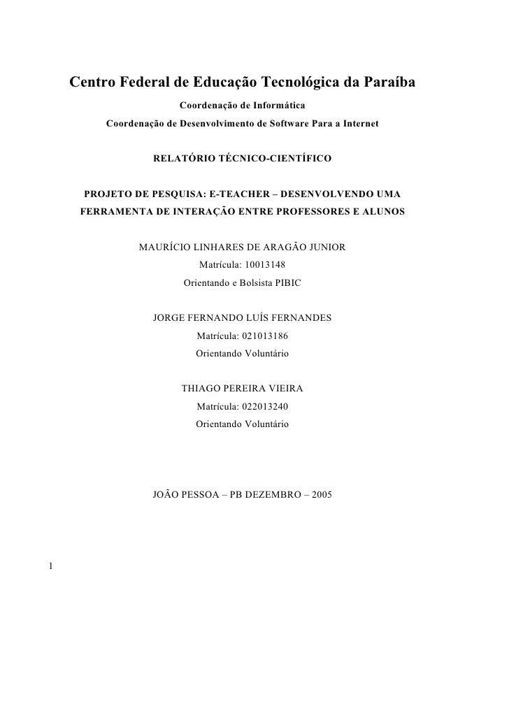 Centro Federal de Educação Tecnológica da Paraíba                        Coordenação de Informática         Coordenação de...
