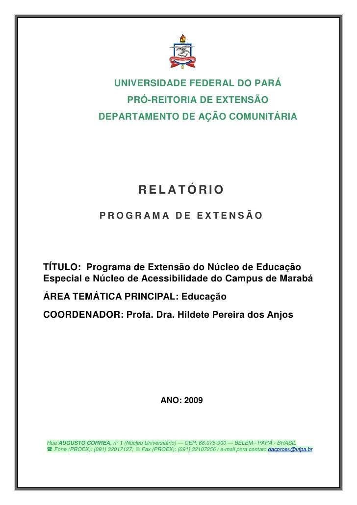 UNIVERSIDADE FEDERAL DO PARÁ                              PRÓ-REITORIA DE EXTENSÃO                    DEPARTAMENTO DE AÇÃO...