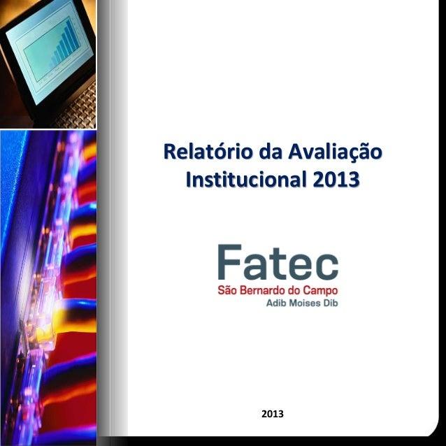 Relatório da Avaliação Institucional 2013 2013
