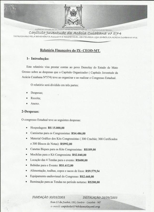Relatório Financeiro   IX CEOD-MT