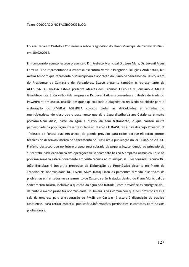 127  Texto COLOCADO NO FACEBOOK E BLOG  Foi realizada em Castelo a Conferência sobre Diagnóstico do Plano Municipal de Cas...