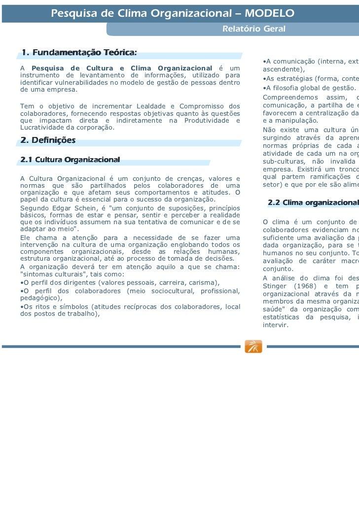 Relatório Pesquisa Clima Modelo 2010 Slide 2