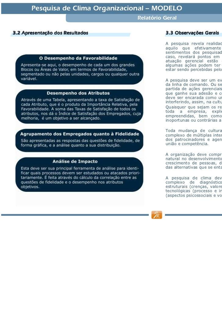 Relatório Pesquisa Clima Modelo 2010 Slide 3