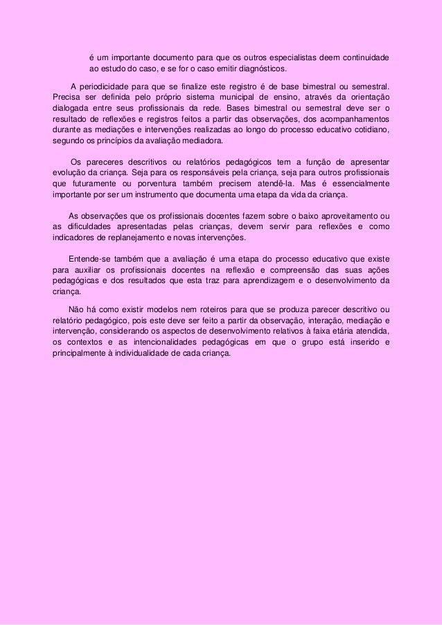Fabuloso Relatório Pedagógico ou Pareceres Descritivos na Educação Infantil -… TW96