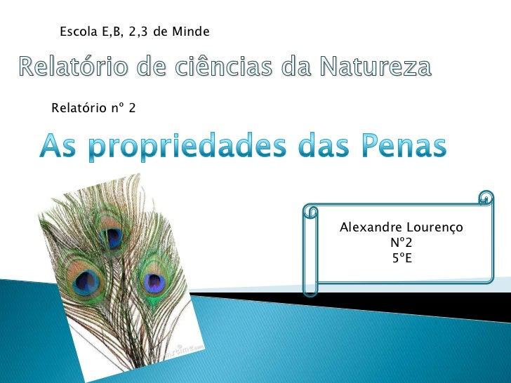 Escola E,B, 2,3 de MindeRelatório nº 2                            Alexandre Lourenço                                   Nº2...