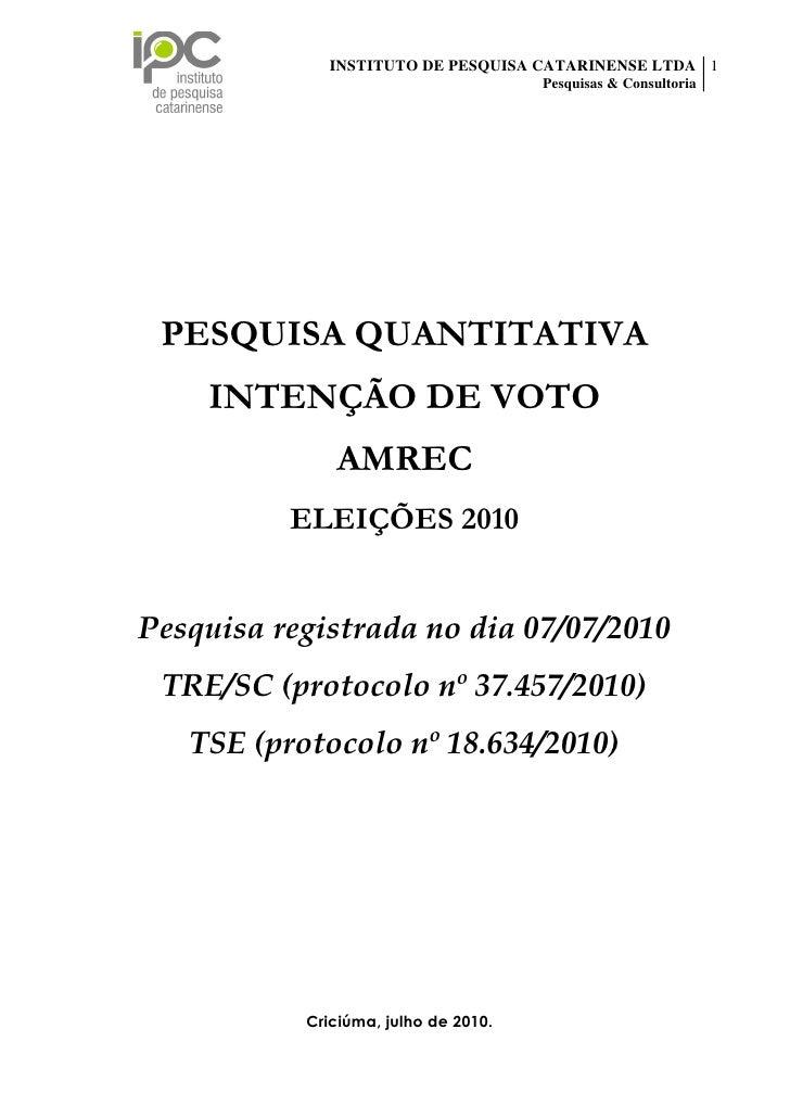 INSTITUTO DE PESQUISA CATARINENSE LTDA 1                                                                     Pesquisas & C...