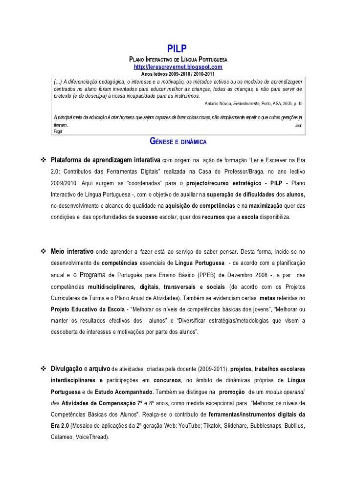 PILP                                             PLANO INTERACTIVO DE LÍNGUA PORTUGUESA                                   ...