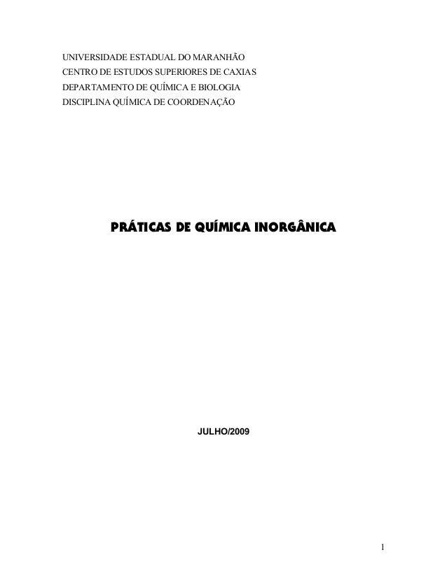 UNIVERSIDADE ESTADUAL DO MARANHÃO CENTRO DE ESTUDOS SUPERIORES DE CAXIAS DEPARTAMENTO DE QUÍMICA E BIOLOGIA DISCIPLINA QUÍ...